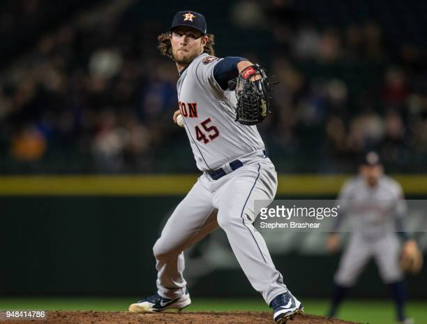 Starter Gerrit Cole of the Houston Astros delivers a pitch during the third inning of game Mariners at Safeco Field on April 18 2018 in Seattle...
