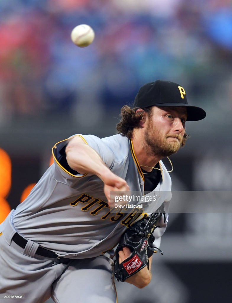 Starter Gerrit Cole #45 of the Pittsburgh Pirates delivers a pitch in the third inning against the Philadelphia Phillies at Citizens Bank Park on July 5, 2017 in Philadelphia, Pennsylvania.