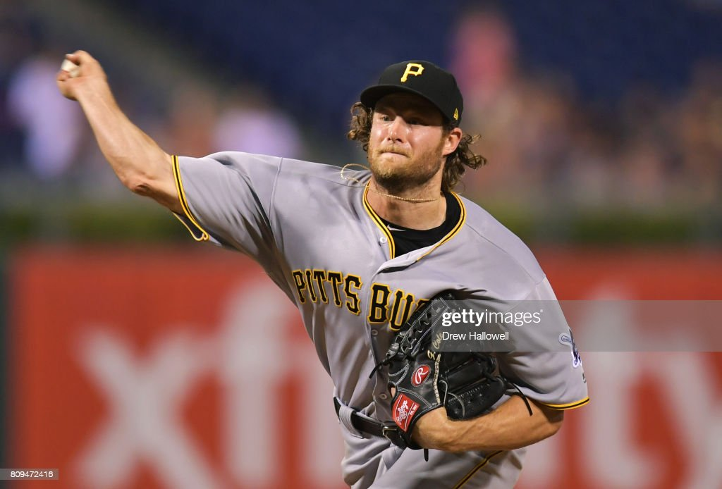 Starter Gerrit Cole #45 of the Pittsburgh Pirates delivers a pitch in the sixth inning against the Philadelphia Phillies at Citizens Bank Park on July 5, 2017 in Philadelphia, Pennsylvania. The Pirates won 5-2.