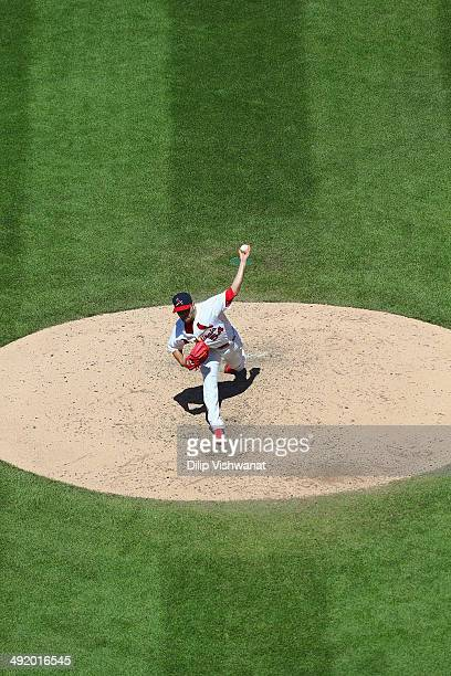 Starter Jaime Garcia of the St Louis Cardinals pitches against the Atlanta Braves at Busch Stadium on May 18 2014 in St Louis Missouri The Braves...