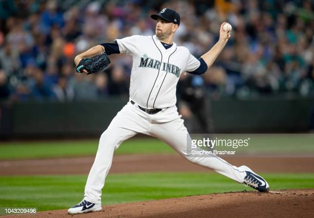 Starter James Paxton of the Seattle Mariners delivers a pitch during the first inning of a game against the Texas Rangers at Safeco Field on...
