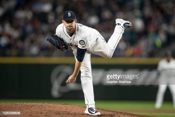 Starter James Paxton of the Seattle Mariners delivers a pitch during a game against the Texas Rangers at Safeco Field on September 29 2018 in Seattle...