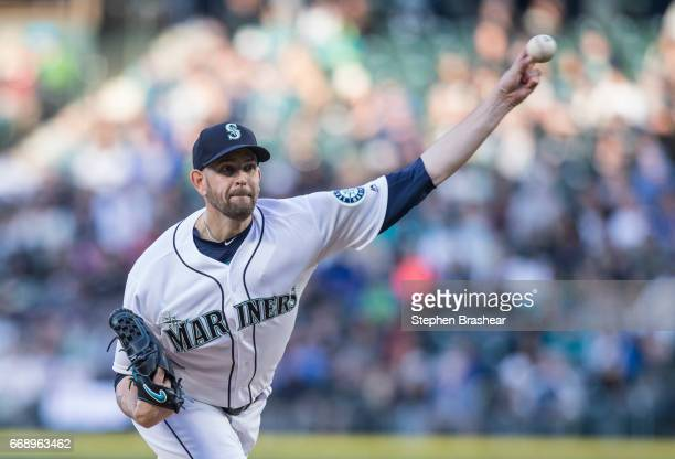 Starter James Paxton of the Seattle Mariners delivers a pitch during the third inning of a game against the Texas Rangers at Safeco Field on April 15...