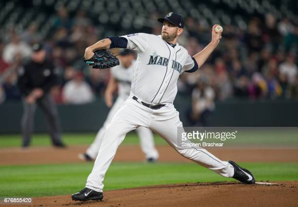 Starter James Paxton of the Seattle Mariners delivers a pitch during the first inning of a game against the Los Angeles Angels of Anaheim at Safeco...