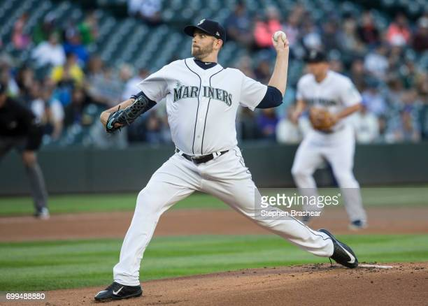 Starter James Paxton of the Seattle Mariners delivers a pitch during the first inning of a game against the Detroit Tigers at Safeco Field on June 21...