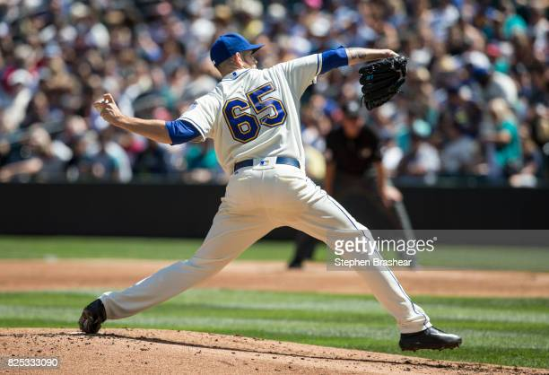 Starter James Paxton of the Seattle Mariners delivers a pitch during an interleague game against the New York Mets at Safeco Field on July 30 2017 in...