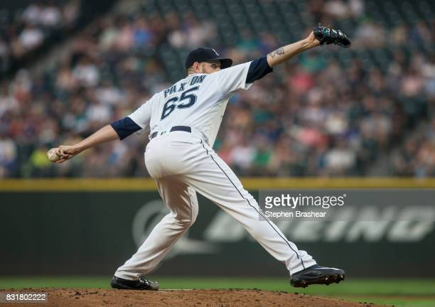 Starter James Paxton of the Seattle Mariners delivers a pitch during a game against the Los Angeles Angels of Anaheim at Safeco Field on August 10...
