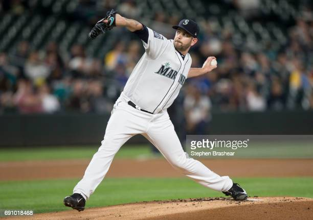 Starter James Paxton of the Seattle Mariners delivers a pitch in the first inning of a game against the Colorado Rockies at Safeco Field on May 31...