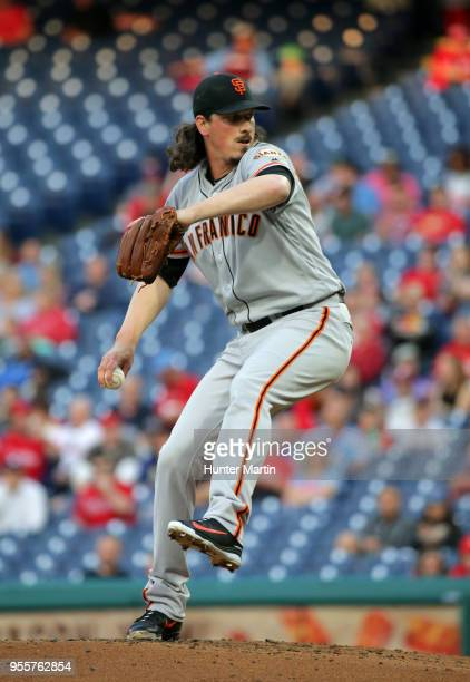 Starter Jeff Samardzija of the San Francisco Giants throws a pitch in the first inning during a game against the Philadelphia Phillies at Citizens...