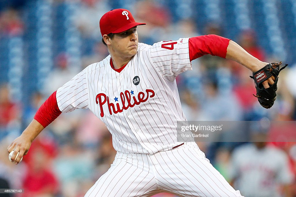 Starter Jerad Eickhoff #48 of the Philadelphia Phillies throws a pitch in the first inning of the game against the New York Mets at Citizens Bank Park on August 26, 2015 in Philadelphia, Pennsylvania.