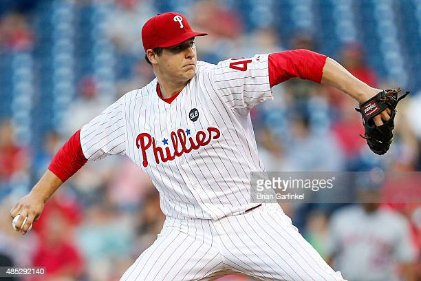 Starter Jerad Eickhoff of the Philadelphia Phillies throws a pitch in the first inning of the game against the New York Mets at Citizens Bank Park on...
