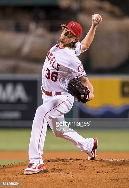 Starter Jered Weaver of the Los Angeles Angels of Anaheim pitches during the first inning of the game against the Oakland Athletics at Angel Stadium...