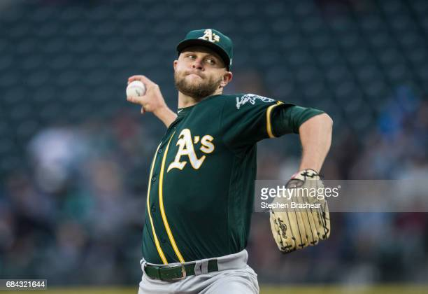 Starter Jesse Hahn of the Oakland Athletics delivers a pitch during the third inning of a game against the Seattle Mariners at Safeco Field on May 17...