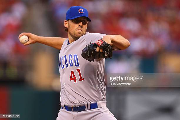 Starter John Lackey of the Chicago Cubs pitches against the St Louis Cardinals in the first inning at Busch Stadium on April 18 2016 in St Louis...