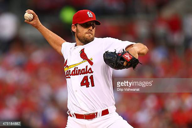 Starter John Lackey of the St Louis Cardinals pitches against the Los Angeles Dodgers in the second inning at Busch Stadium on May 29 2015 in St...