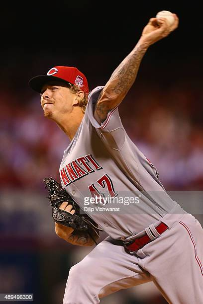 Starter John Lamb of the Cincinnati Reds pitches against the St Louis Cardinals in the first inning at Busch Stadium on September 21 2015 in St Louis...