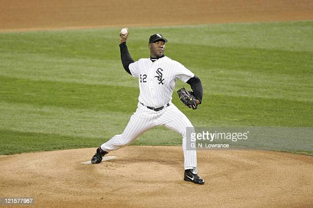 Starter Jose Contreras of the Chicago White Sox throws a pitch during game 1 of the World Series against the Houston Astros at US Cellular Field in...