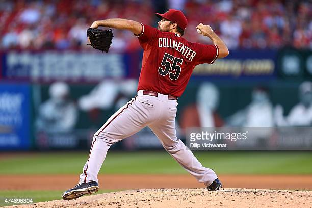 Starter Josh Collmenter of the Arizona Diamondbacks pitches against the St Louis Cardinals in the first inning at Busch Stadium on May 27 2015 in St...