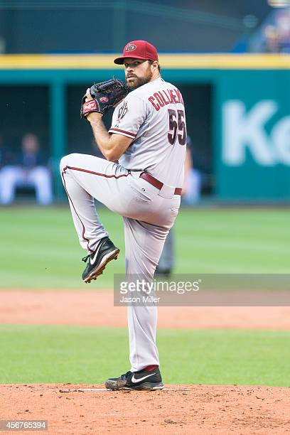 Starter Josh Collmenter of the Arizona Diamondbacks pitches during the first inning against the Cleveland Indians at Progressive Field on August 12...