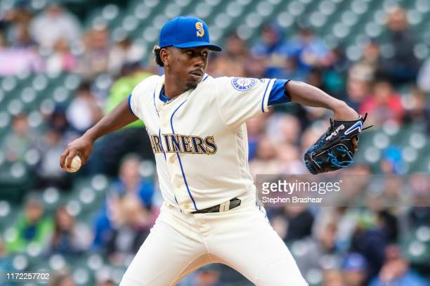 Starter Justin Dunn of the Seattle Mariners delivers a pitch during the first inning of a game against the Oakland Athletics at T-Mobile Park on...