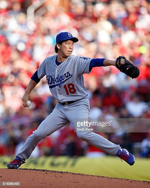 Starter Kenta Maeda of the Los Angeles Dodgers pitches against the St Louis Cardinals during the first inning of a baseball game at Busch Stadium on...