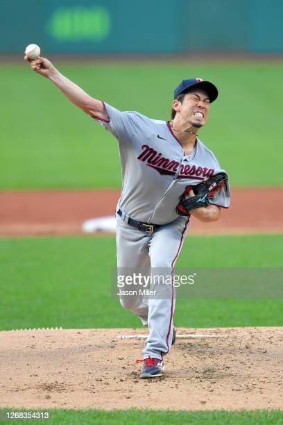 Starter Kenta Maeda of the Minnesota Twins pitches during the first inning against the Cleveland Indians at Progressive Field on August 24, 2020 in...