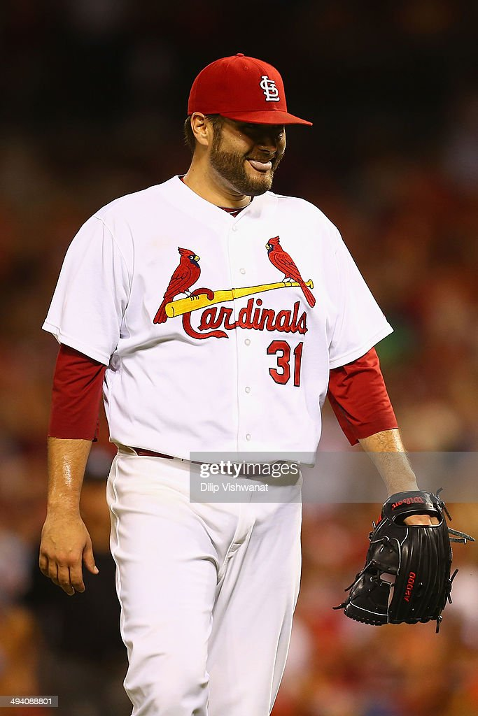 Starter Lance Lynn #31 of the St. Louis Cardinals smiles after recording a complete-game shutout against the New York Yankees at Busch Stadium on May 27, 2014 in St. Louis, Missouri. The Cardinals beat the Yankees 6-0.