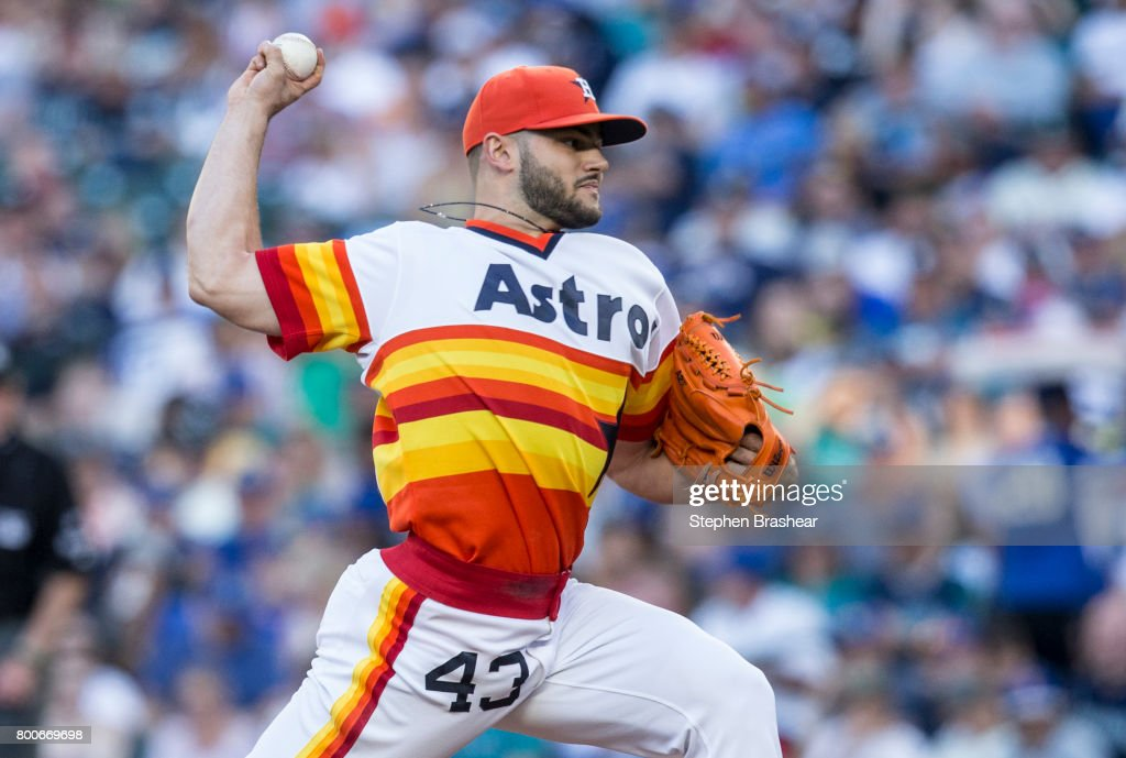 Starter Lance McCullers Jr. #43 of the Houston Astros delivers a pitch during the first inning of a game against the Seattle Mariners at Safeco Field on June 24, 2017 in Seattle, Washington. The Astros won 5-2 and McCullers got the win.