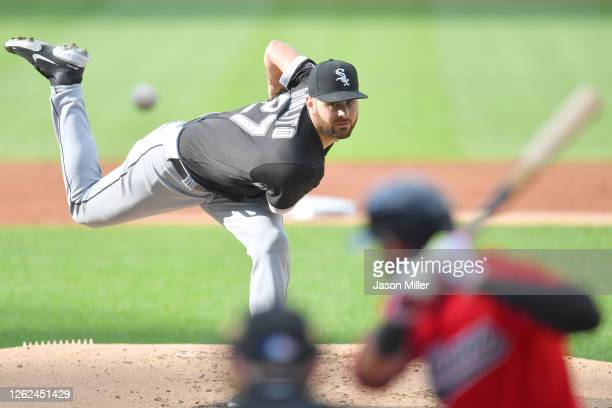 Starter Lucas Giolito of the Chicago White Sox pitches against Cesar Hernandez of the Cleveland Indians during the first inning at Progressive Field...