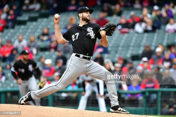 Starter Lucas Giolito of the Chicago White Sox pitches during the first inning against the Cleveland Indians at Progressive Field on May 07, 2019 in...