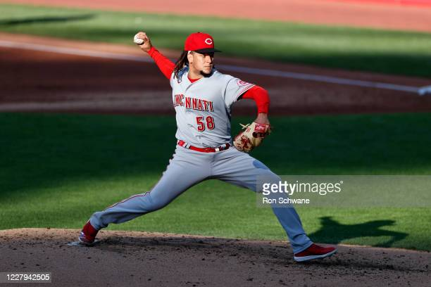 Starter Luis Castillo of the Cincinnati Reds pitches against the Cleveland Indians during the second inning at Progressive Field on August 06, 2020...
