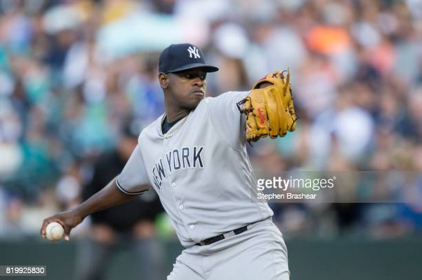 Starter Luis Severino of the New York Yankees delivers a pitch during the first inning of a game against the Seattle Mariners at Safeco Field on July...
