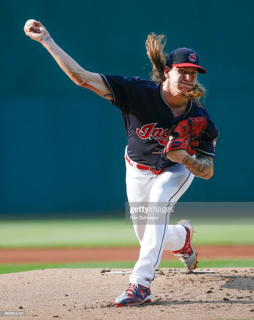 Starter Mike Clevinger #52 of the Cleveland Indians pitches against the Chicago White Sox during the first inning at Progressive Field on May 29, 2018 in Cleveland, Ohio.