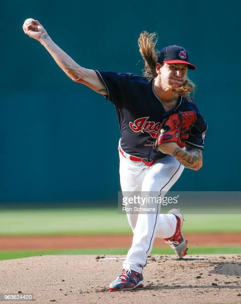 Starter Mike Clevinger of the Cleveland Indians pitches against the Chicago White Sox during the first inning at Progressive Field on May 29 2018 in...