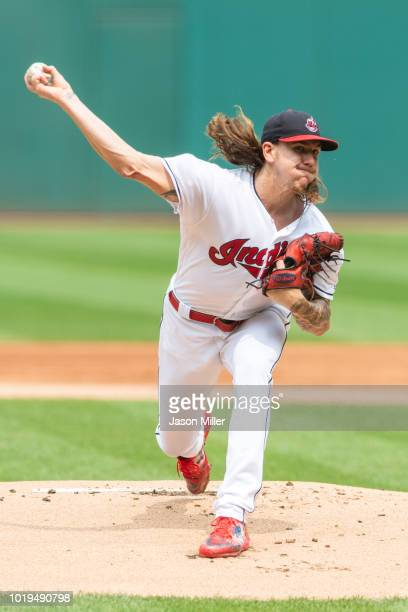 Starter Mike Clevinger of the Cleveland Indians pitches during the first inning against the Baltimore Orioles at Progressive Field on August 19 2018...