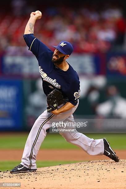 Starter Mike Fiers of the Milwaukee Brewers pitches against the St Louis Cardinals in the first inning at Busch Stadium on June 1 2015 in St Louis...