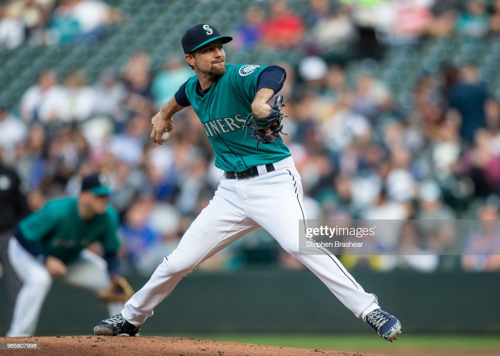 Starter Mike Leake #8 of the Seattle Mariners delivers a pitch during the first inning of a game against the Tampa Bay Rays at Safeco Field on June 1, 2018 in Seattle, Washington.