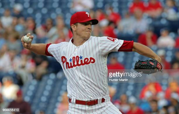 Starter Nick Pivetta of the Philadelphia Phillies throws a pitch in the first inning during a game against the San Francisco Giants at Citizens Bank...