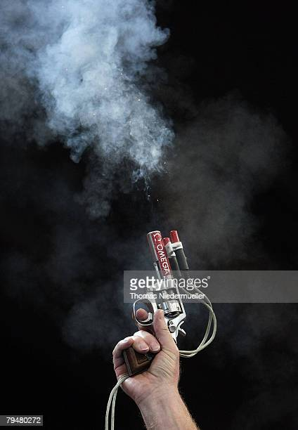 Starter pistol is seen during the Sparkassen Cup 2008 at the Hanns-Martin Schleyer Hall on February 2, 2008 in Stuttgart, Germany.