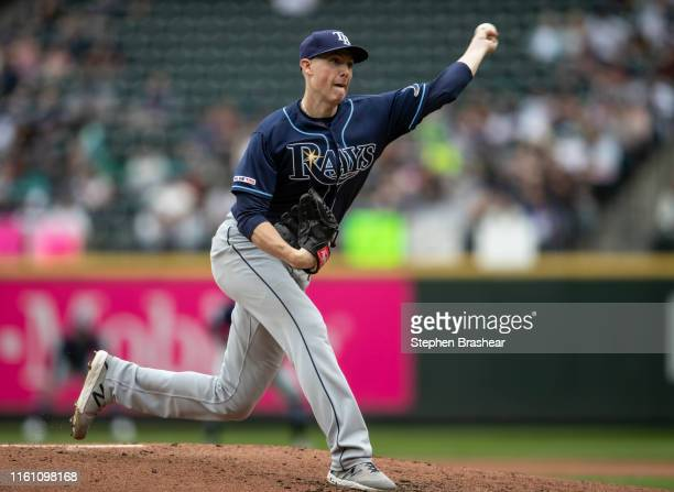 Starter Ryan Yarbrough of the Tampa Bay Rays delivers a pitch during the fourth inning of a game against the Seattle Mariners at TMobile Park on...