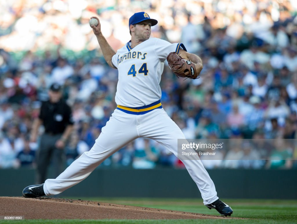Starter Sam Gaviglio #44 of the Seattle Mariners delivers a pitch during the first inning of a game against the Houston Astros at Safeco Field on June 24, 2017 in Seattle, Washington.