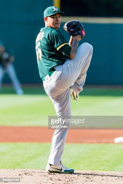 Starter Sean Manaea pitches in the first inning against the Cleveland Indians at Progressive Field on May 31 2017 in Cleveland Ohio