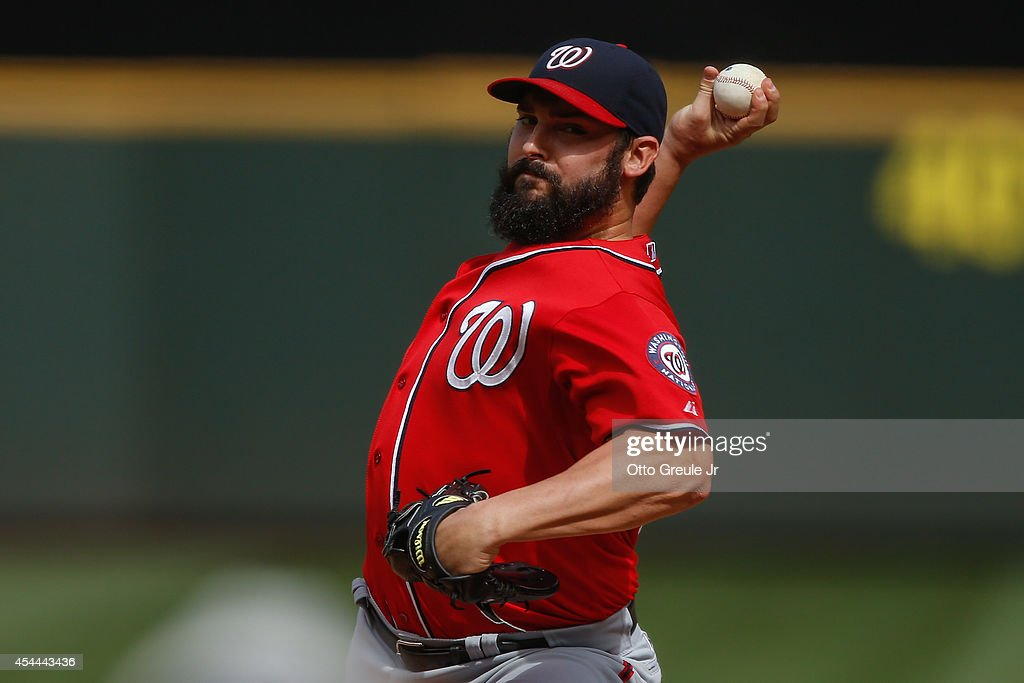 Starter Tanner Roark #57 of the Washington Nationals pitches in the fifth inning against the Seattle Mariners at Safeco Field on August 31, 2014 in Seattle, Washington. The Mariners defeated the Nationals 5-3.