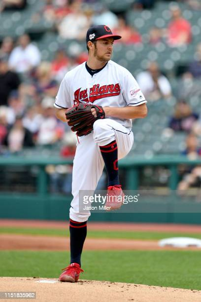 Starter Trevor Bauer of the Cleveland Indians pitches during the first inning against the Tampa Bay Rays at Progressive Field on May 26 2019 in...