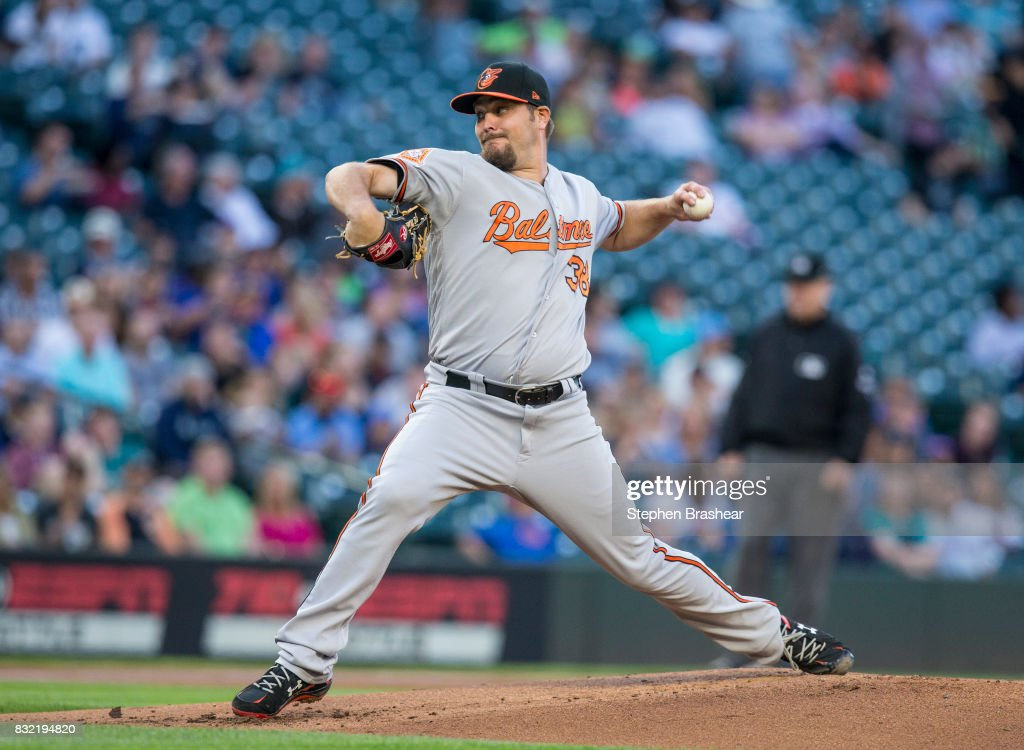 Starter Wade Miley #38 of the Baltimore Orioles delivers a pitch during the first inning of a game against the Seattle Mariners at Safeco Field on August 15, 2017 in Seattle, Washington.