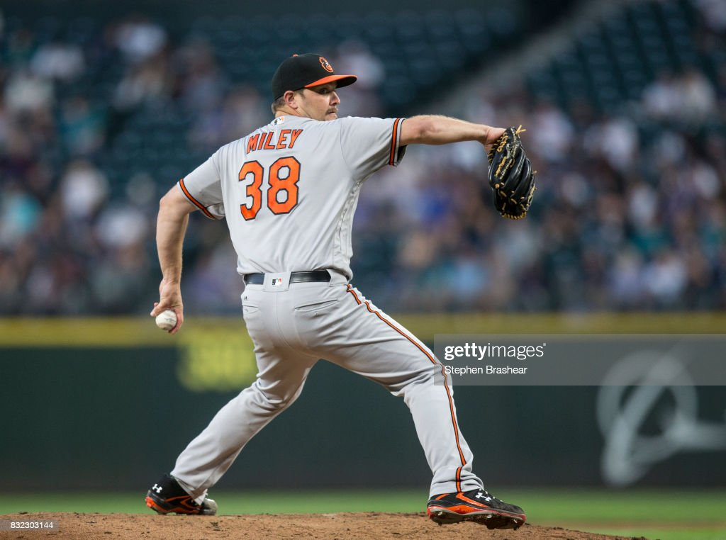 Starter Wade Miley #38 of the Baltimore Orioles delivers a pitch during the fourth inning of a game Mariners at Safeco Field on August 15, 2017 in Seattle, Washington. The Mariners won 3-1.