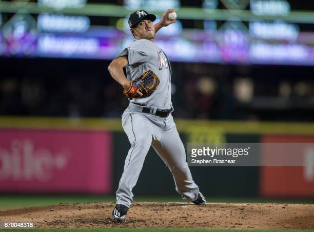 Starter Wei-Yin Chen of the Miami Marlins delivers a ptich during the fifth inning of a game Seattle Mariners at Safeco Field on April 18, 2017 in...