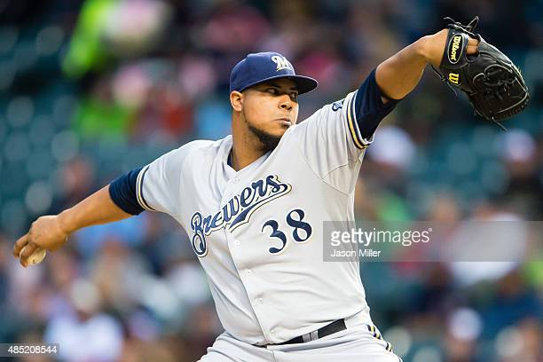 Starter Wily Peralta of the Milwaukee Brewers pitches during the first inning against the Cleveland Indians at Progressive Field on August 25 2015 in...