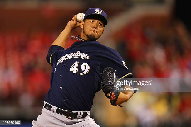 Starter Yovani Gallardo of the Milwaukee Brewers pitches against the St Louis Cardinals at Busch Stadium on September 6 2011 in St Louis Missouri