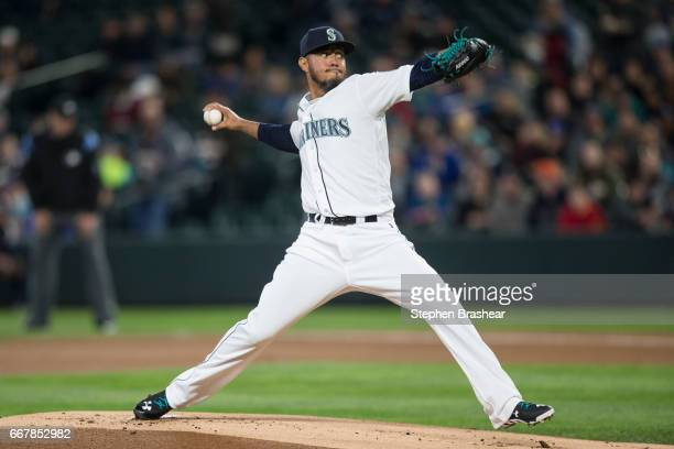 Starter Yovani Gallardo of the Seattle Mariners delivers a pitch during the first inning of a game against the Houston Astros at Safeco Field on...